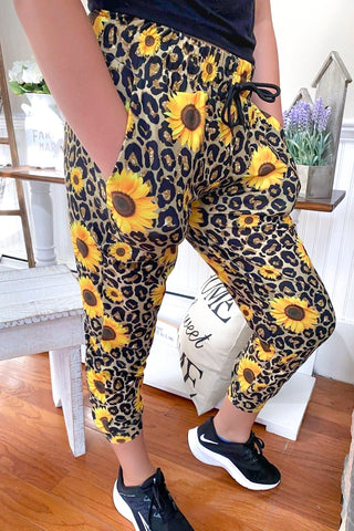 Cheetah Sunflower Jogger Capri
