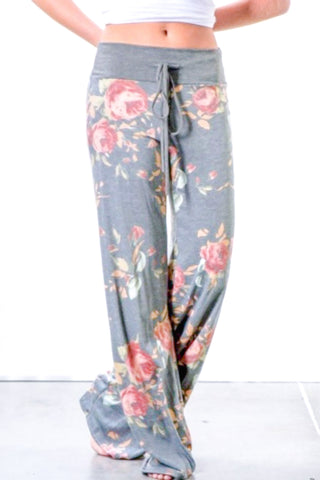 Grey Floral Lounge Wear Baggy Pants