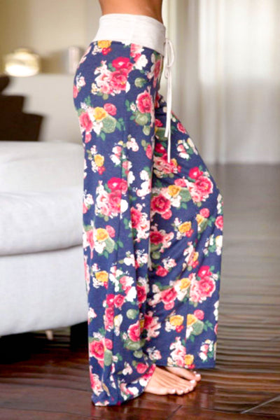 Navy Floral Lounge Wear Baggy Pants