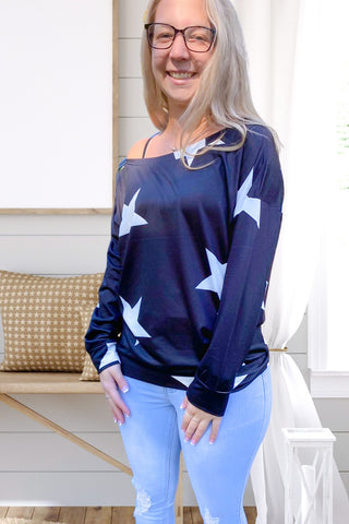 Black Star Print Roundneck Top