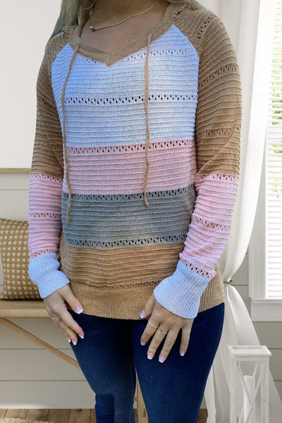 Tan Color Block Sweater with Hood