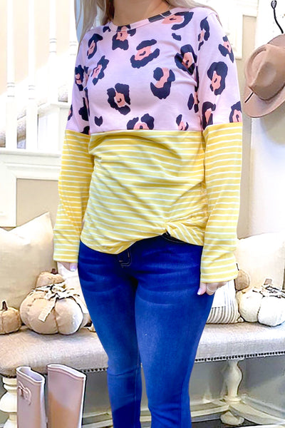 Leopard Striped Casual Top