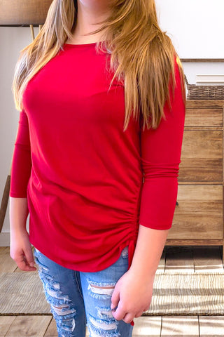 Red Long Sleeve Scrunch Top