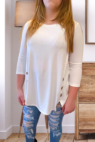 Ivory Button Detail Solid Top