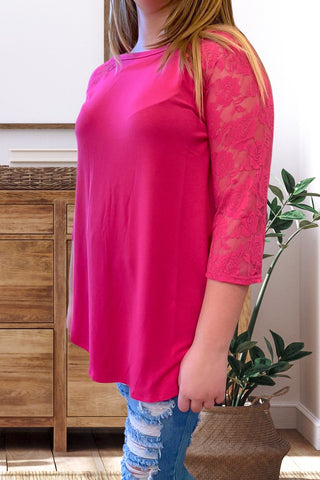 Hot Pink Lace Sleeve Top