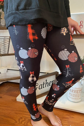 A Leopard Plaid Christmas Leggings