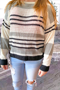 Grey Loose Fit Striped Pattern Sweater