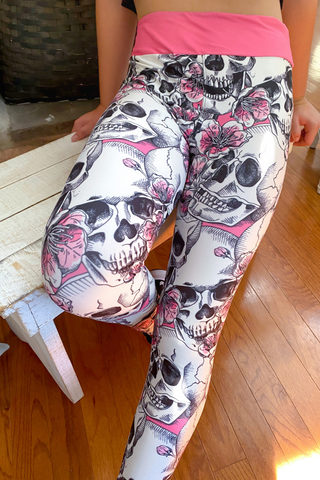 Pink Skull Custom Leggings