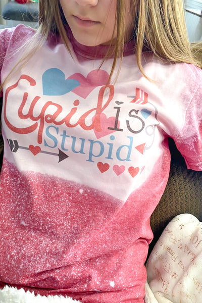 Cupid is Stupid Bleached Graphic T shirt