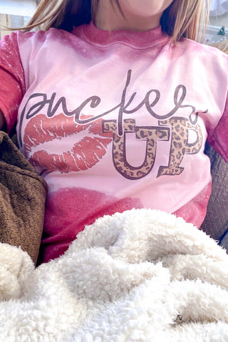 Pucker Up Bleached Graphic T shirt