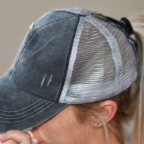 Black and Grey Washed Denim Criss Cross Ponytail Cap