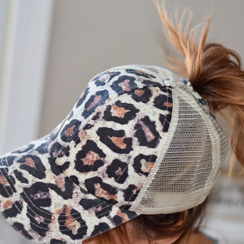 Cheetah Washed Denim Criss Cross Ponytail Cap