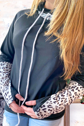 Leopard Cowl Neck Hoodie with Thumb Hole