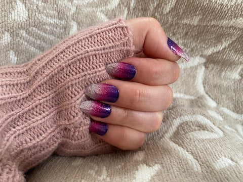 Pink and Purple Ombre Sparkle Nail Strips
