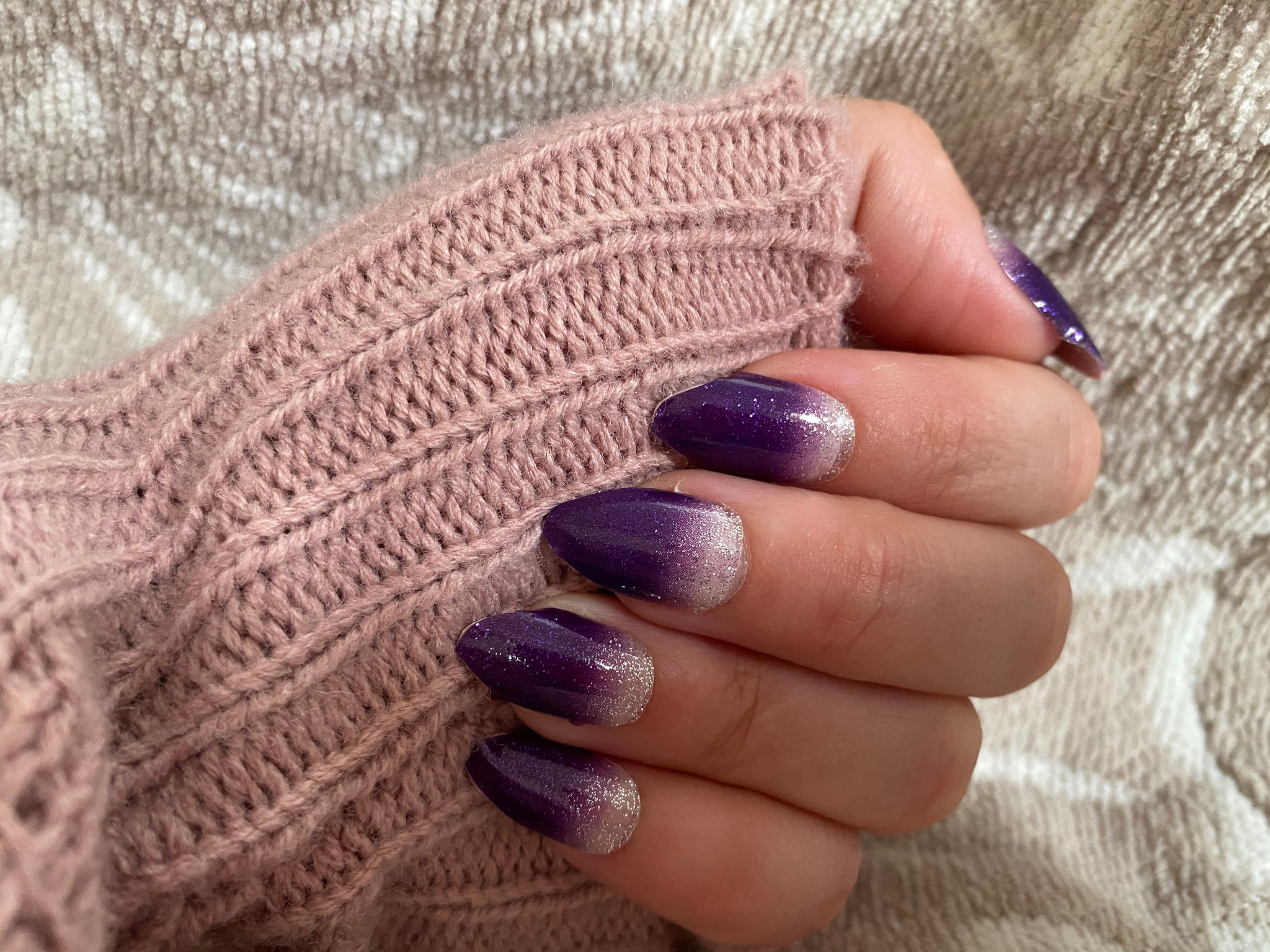 Purple Sparkle Nail Strips