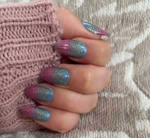 Pink and Teal Sparkle Nail Strips