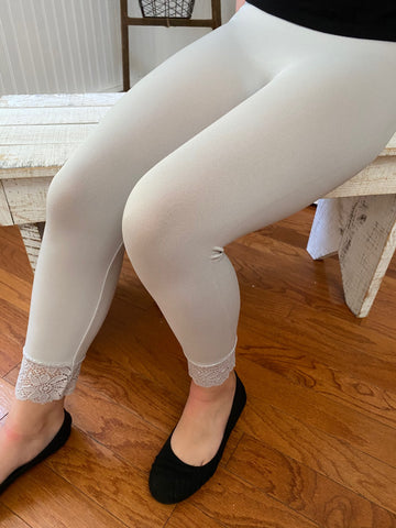 Grey Mist Seamless Lace Detailed Leggings