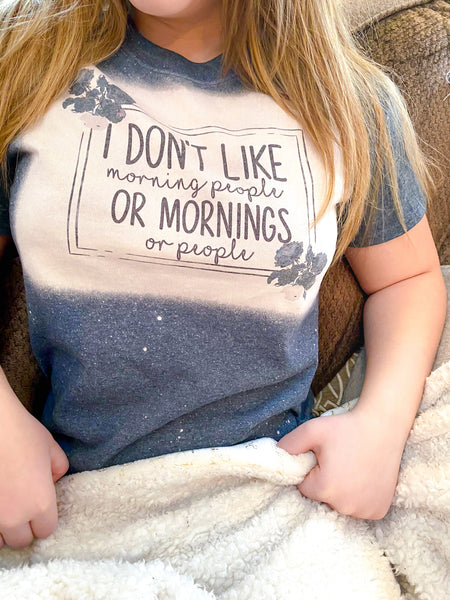 I Hate Morning People Bleached Graphic T shirt
