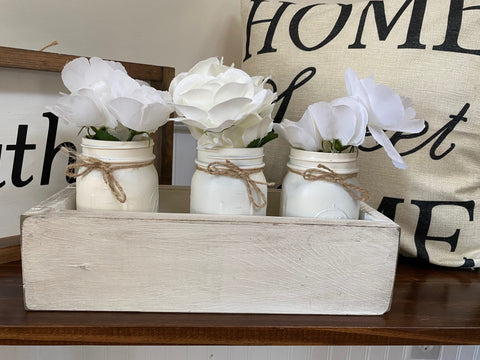Mason Jar White Distressed Planter Box