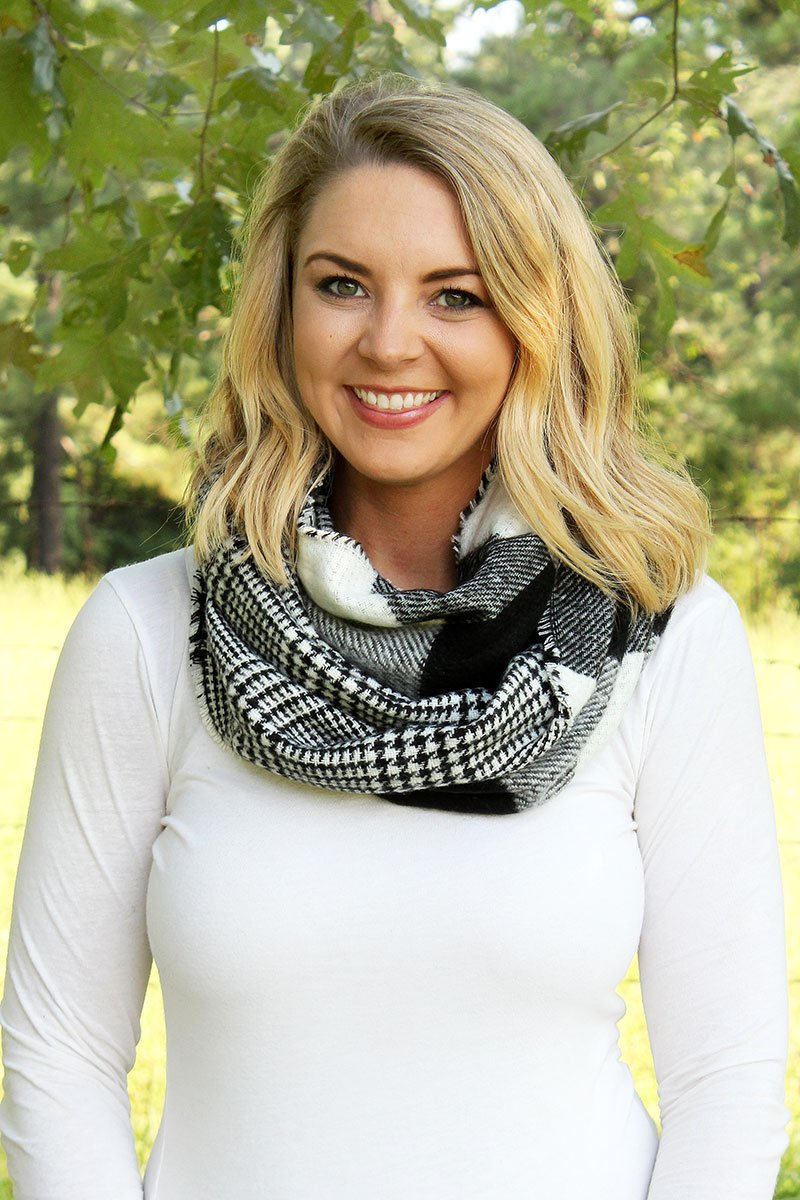 Rustic Cabin Buffalo Plaid Black and White Scarf