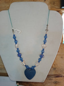 Lava Bead Heart, Blue