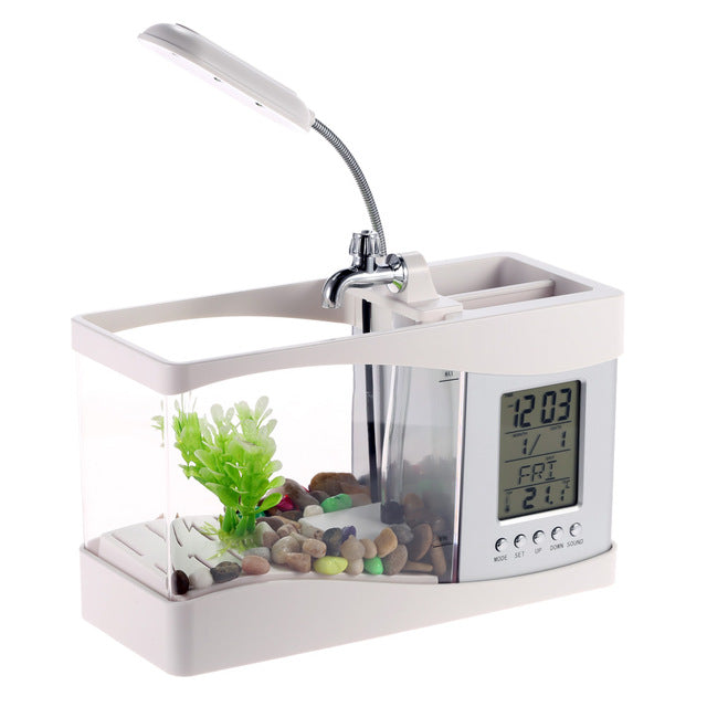 Aquarium Black/ White USB Mini Aquarium Fish Tank