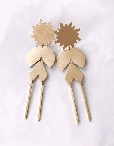 solar power earrings - brushed brass