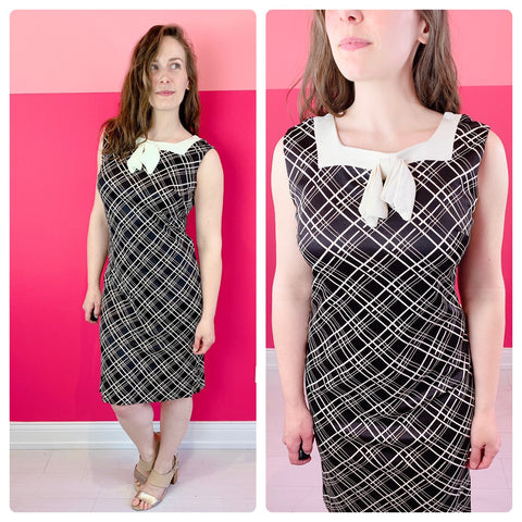 1960s Black & White Grid Sheath Dress