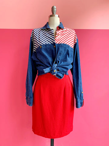 1980s Red Skirt sz.S