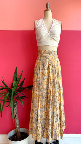 1990s Yellow Floral Skirt sz. M