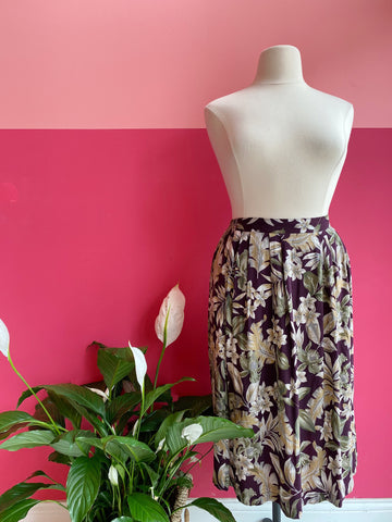 1990s Tropical Floral Midi Skirt