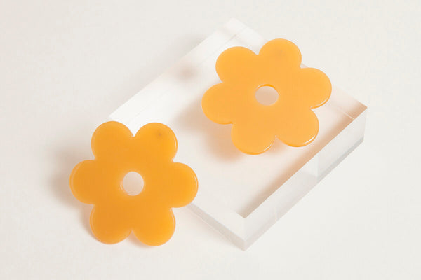 Large Orange Acetate Daisy Earrings