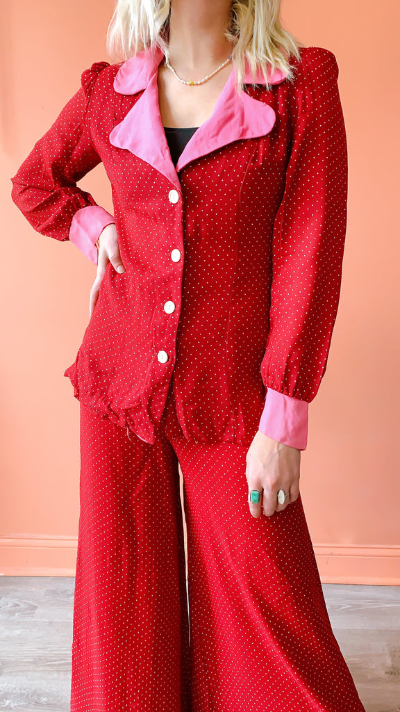 1970s Red & Pink Polkadot Two piece set , size S