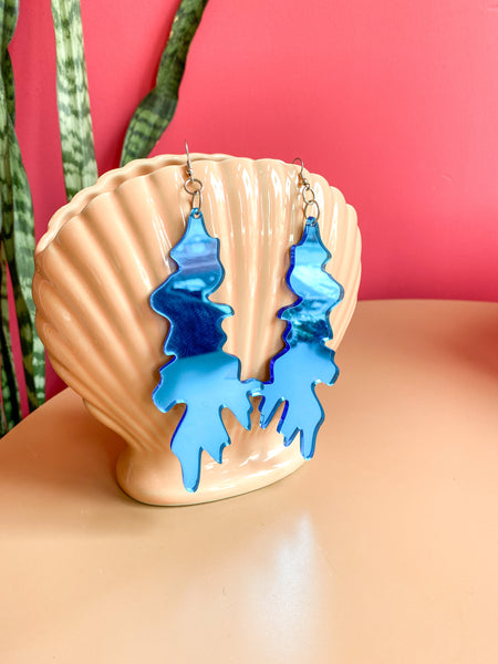 Acrylic Blob Earrings Blue Mirrored