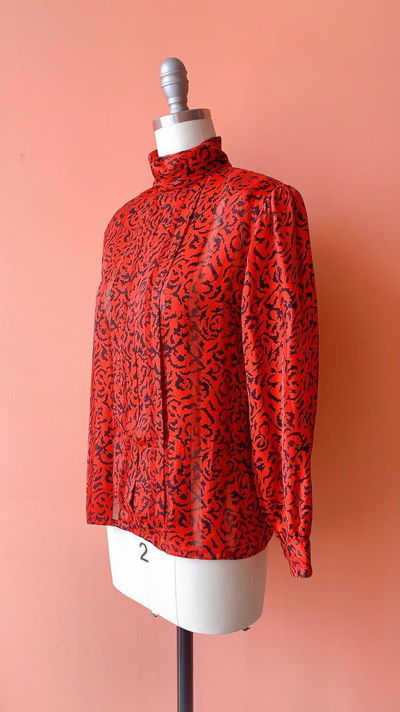 80s Seeing Red printed blouse, sz. S