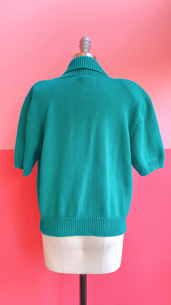 80s Green Light knit top, sz. L/XL