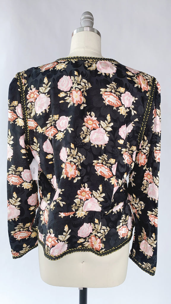 1980s Silk Floral Jacket Size: S/M
