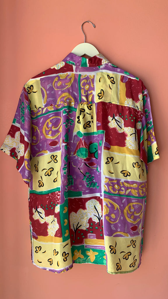1980s Silk sketchbook top, sz. L