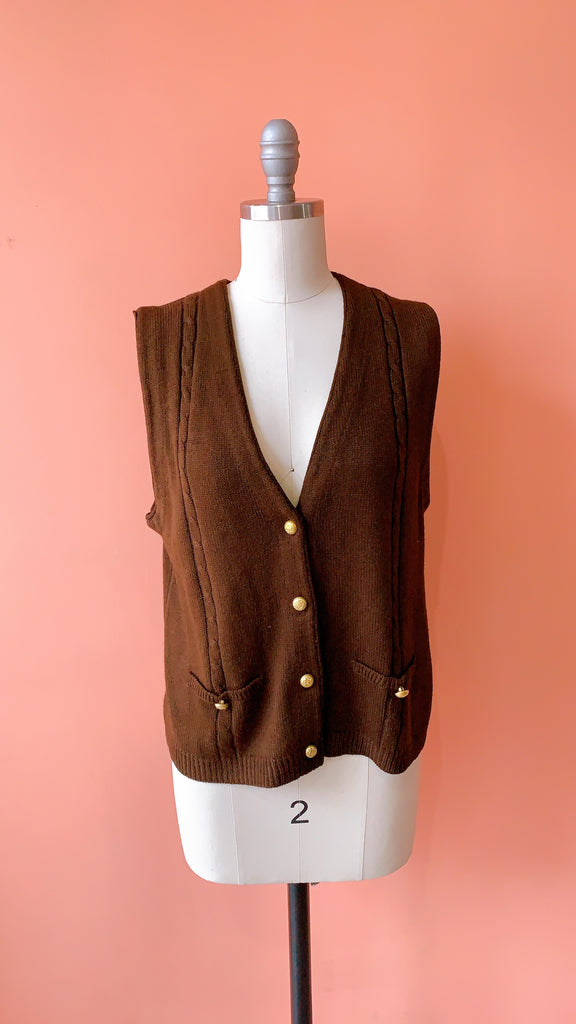 1990s Hot Cocoa Sweater Vest, size: M/L