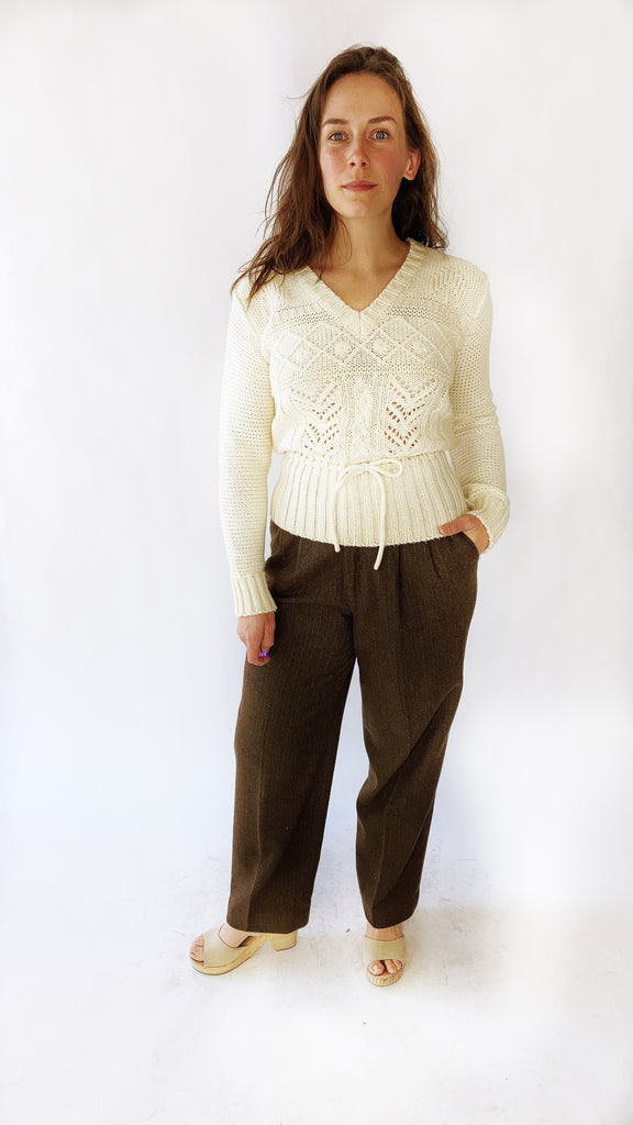 70s Drawstring Knit Sweater, sz. S/M
