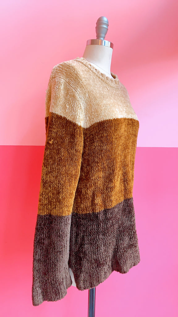 90s Chocolate Trio Sweater, sz. L