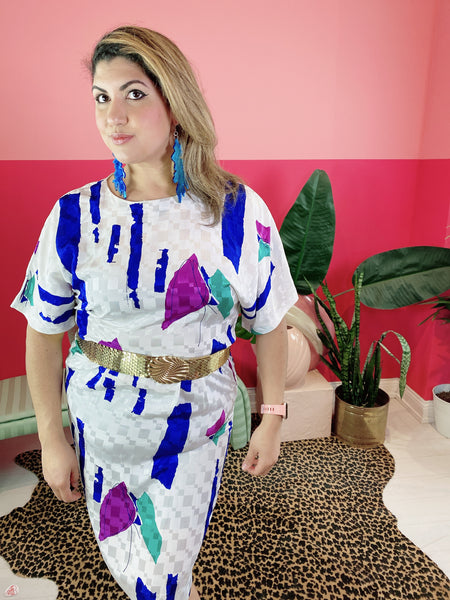 1980s Abstract Art Dress Size: L