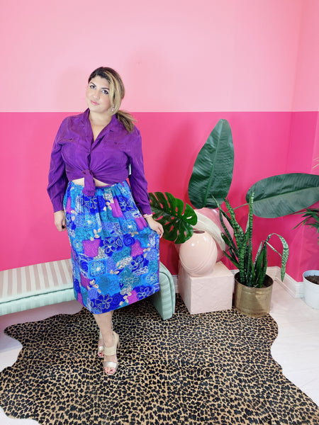1980s Blue & Purple Poppy Skirt