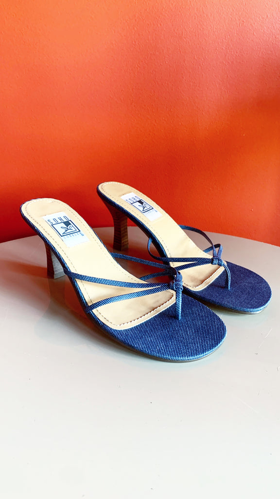 Y2k Denim strappy sandals