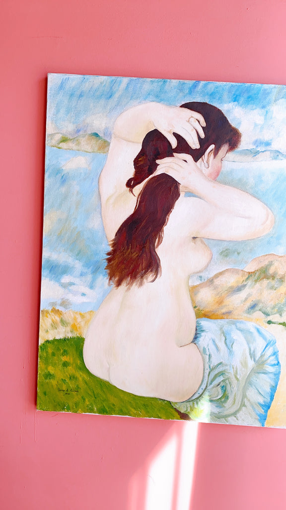 Signed and Dated 1976 Nude Figure Painting