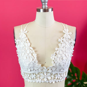 NEW White Floral Lace Bralette