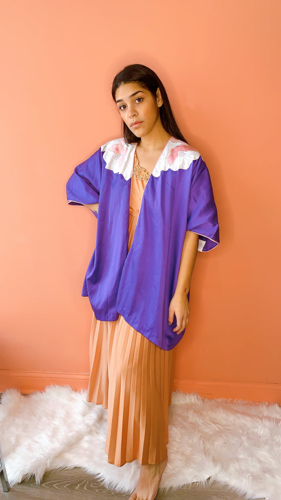 1980s Purple posey robe, sz. M/L