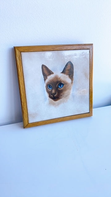 Siamese Dream Ceramic Cat Painting