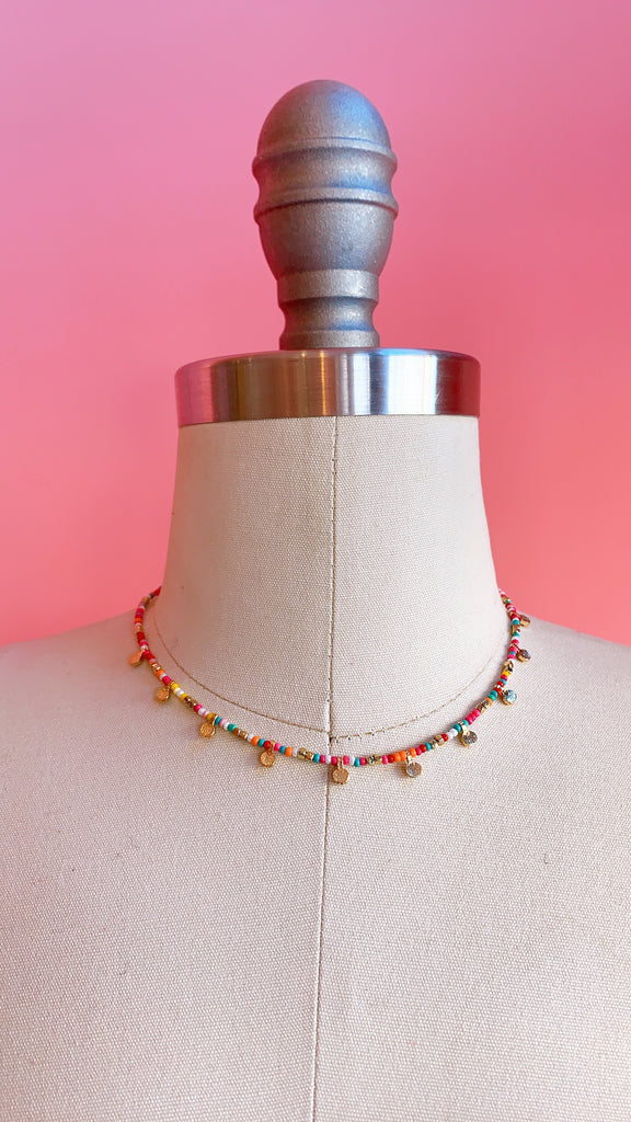 Seed bead confetti necklace