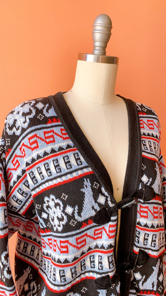 1980s Winters howl geometric sweater, sz. L